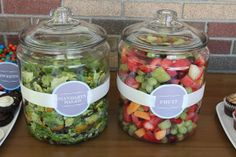 Great example of covered serving ware and great signage. Lettuce in one jar, fruit in the other! Love this idea in setting up a salad bar for a party or wedding!
