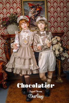 -Chocolatier- Sweet Lolita Salopette Victoria Fashion, Fashion Drawing Dresses, Lolita Cosplay, Couple Outfits, Lolita Dress, Japanese Fashion, Gothic Lolita, Lolita Fashion, Unique Fashion