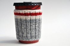 Hand Knit Hiking Camping Coffee Cup Cozy. Nice idea! Make your own by cutting up a wool sock!