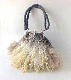 Felted handbag Grey Fur locks purse by galafilc on Etsy, $79.00