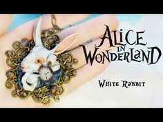 "Polymer Clay White Rabbit ""Alice in Wonderland'' necklace - YouTube"