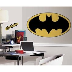 Batman Logo Giant Wall Decal - RoomMates    Holy giant wall decal Batman! Install in a child or teen bedroom, would even look great in a home theater, basement, or rec room!