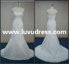 Off shoulder organza and lace mermaid real sample 2014 Wedding Dress
