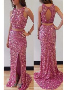 Cherry Pink Sparkle Open Back Two Piece Mermaid Prom Dress With Slit