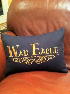 Auburn Decorative Pillow Cover. $20.00, via Etsy. The War Eagle makes me throw up a little bit, but its cute.