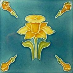 Antique Art Nouveau Majolica -  Ceramic Tile