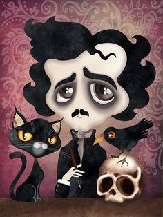 Edgar Poet Gothic 4 x 6 Postcard Postcrossing by sandragrafik Gothic 4, Edgar Allen Poe, Edgar Allan, Snail Mail Pen Pals, Cheshire, Goth Art, Creepy Cute, Designer Throw Pillows, Keepsake Boxes