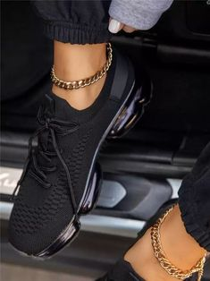 US$ 84.89 - Lace-Up Lace-Up Round Toe Plain Sneakers - www.insboys.com Casual Sneakers, Sneakers Fashion, All Black Sneakers, Casual Shoes, Fashion Shoes, All Black Nikes, Burgundy Sneakers, Women's Fashion, Zapatos Nike Air