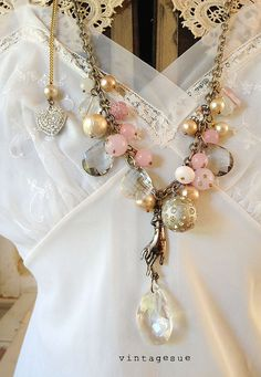 pearl paradeupcycled necklace plethora of faux pearls by Arey