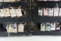 There are many ways in which you can alter old books. You cantake a book (old, new, recycled or multiple) and cut it, tear it, glue it, fold it, paint it, rebind it,create pop-ups... You can add pockets andniches to hold other items. Or, like Crew Member, Lena Holmstrom, you can turn it into a shelf to hold your mini-books. How to makemini-books you ask? Well, Lena can show you that, too, but ...