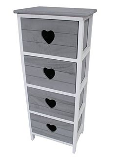 Shabby Chic Modern Wooden White Bedside Table Drawer Cabinet with Love Heart Cut out Storage Units Cupboard Bedroom Bathroom Kitchen Furniture (3 Grey Draws): Amazon.co.uk: Kitchen & Home