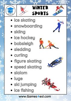 A list of winter sports in English, plus other winter vocabulary. Download and print for free. Esl Worksheets For Beginners, Winter Sports, Snowboarding, Vocabulary, Ski, Hockey, English, Free, Snow Board