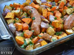 Sweet potatoes, apples, onion, and sausage are roasted with savory herbs in this delicious and hearty Oven Roasted Autumn Medley. Step by step photos. @budgetbytes