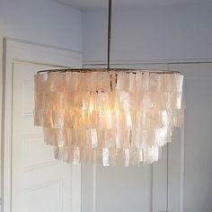 Round Capiz Chandelier - White #westelm.      Master bedroom sitting room light if needed, option 2