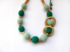 Emerald and mint nursing necklace with wooden rings - Teething necklace - Breastfeeding Necklace - For Babywearing Moms on Etsy, $27.00