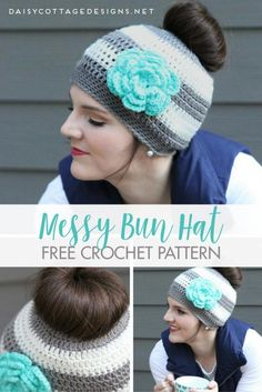 Easy Ponytail Hat Crochet pattern from Daisy Cottage Designs. This messy bun hat is the perfect way to keep your head war and your hair cute!