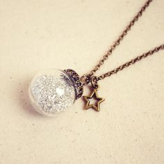 Crystal Ball Necklace with Silver German Glass Glitter and Tiny Star | Lovely Clusters - Beautiful Handmade + Vintage
