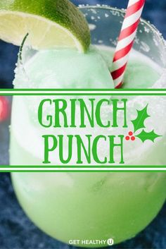 This fizzy Grinch Punch cocktail is a holiday favorite every year! We love this simple holiday cocktail recipe because it tastes like a creamy citrus dessert drink, but is much lower in calorie than most holiday drinks. Dessert Drinks, Fun Drinks, Yummy Drinks, Appetizer Dessert, Dinner Dessert, Dessert Bread, Holiday Cocktails, Cocktail Drinks, Non Alcoholic Christmas Drinks