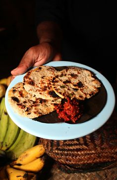 Roti and lunu miris (a spicy sambol) - Sri Lankan Food #srilankanfood #srilanka