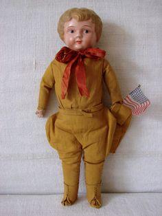 Antique  German Tin Metal  Shoulder Head Doll WWI Soldier