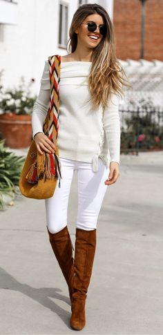 #fall #outfits women's white off-shoulder long-sleeved shirt, white fitted pants, and pair of brown suede knee-high boots. Click To Shop This Look.