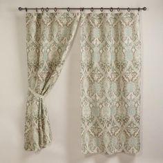 Porcelain Victoria Jute Wood Ring Curtain