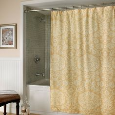 Shower curtain with damask motif.  Product: Shower curtainConstruction Material: PolyesterColor: