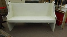 $225 - This Church Pew has been painted creamy white, distressed and a tinted wax has been hand applied. ***** In Booth E5 at Main Street Antique Mall 7260 E Main St (east of Power RD on MAIN STREET) Mesa Az 85207 **** Open 7 days a week 10:00AM-5:30PM **** Call for more information 480 924 1122 **** We Accept cash, debit, VISA, Mastercard, Discover or American Express