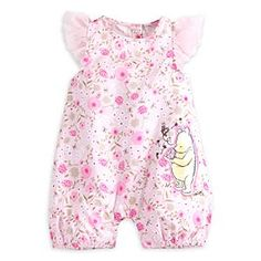 Winnie the Pooh Layette Romper for Baby | Disney Store Flowers take full bloom on this adorable Winnie the Pooh Layette Romper. Embroidered with an inquisitive Pooh bear holding onto a fluttering friend, your budding beauty will feel oh-so-sweet wrapped in this winning number.