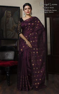 Khadi Matka Silk Saree in Wine Red and Antique Gold