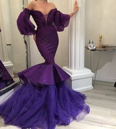 Off The Shoulder Purple Mermaid Prom Dresses, Alexander Grassner Große 46 Purple Evening Dress, Cheap Evening Dresses, Long Evening Gowns, Elegant Dresses, Cute Dresses, Beautiful Dresses, Formal Dresses, Purple Dress, African Fashion Dresses