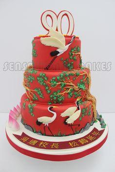 GIANT auspicious SHUO TAO 寿桃 LONGEVITY THEME CAKE SINGAPORE / 长 寿 蛋 糕 SINGAPORE / 吉祥 红 松 鹤 瑞 兽 蛋 糕 新 加坡 SINGAPORE LONGEVITY CAKE | Sensational Cakes Singapore