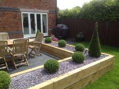 Wood Garden Edging, Garden Slabs, Patio Edging, Backyard Garden Landscape, Garden Landscape Design, Backyard Landscaping, Wood Landscape Edging, Small Back Gardens, Back Garden Design