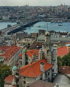 Galata Bridge from Galata Tower, Istanbul.