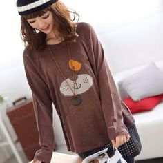 Long-Sleeve Dog-Embroidered T-Shirt from #YesStyle <3 59 Seconds YesStyle.com