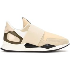 Givenchy Runner Elastic Leather Sneakers ($845) ❤ liked on Polyvore featuring shoes, sneakers, givenchy shoes, leather shoes, givenchy trainers, cream shoes and leather trainers