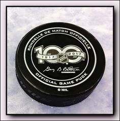 A look at the official game puck that will be used during games throughout year-long 2017 NHL Centennial celebration. NHL100