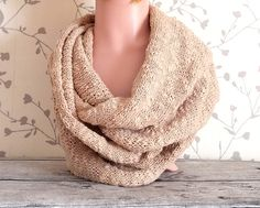 Hand Knitted Pure Cotton Snood/Infinity Scarf For Summer