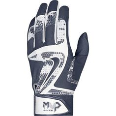 With a wide, adjustable wrist strap and bold graphic, the Nike MVP Elite Baseball Batting Glove offers a textured leather grip, flexibility and exceptional fit that delivers a soft feel at the plate. Baseball Gear, Batting Gloves, Basketball Uniforms, White Wolf, Discount Shoes, Discount Makeup, Softball, Navy And White, T Shirts For Women