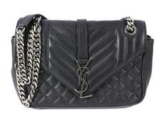 BAG,  YSL,  Sac Ligne, black   quilted leather, details  in base metal, 23x13x6cm, dustbag. #yvessaintlaurent #bag #sacligne