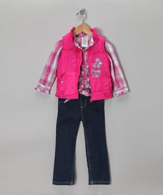 Take a look at this Pink Plaid Bow Vest Set - Infant, Toddler & Girls by Young Hearts on #zulily today!