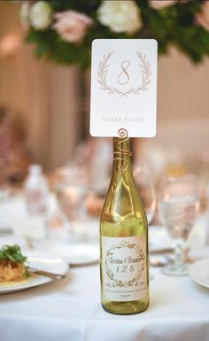 Wine Bottle Table number Holder- Wedding Decor-Wedding placecard Swirl - 5 to 100