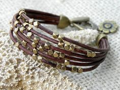 Brass and Chocolate Brown Leather Bracelet Multiple by TANGRA2009, $43.00