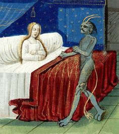 The conception of Merlin. Lancelot en prose (partie du), c. 1494, Inc. 1286, f8v, Bibliothèque Mazarine, Paris.