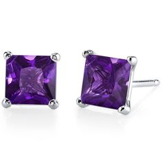 Peora.com - Amethyst Stud Earrings 14 Kt White Gold Princess Cut 2 Carats E18496, $119.99 (http://www.peora.com/amethyst-stud-earrings-14-kt-white-gold-princess-cut-2-carats-e18496)