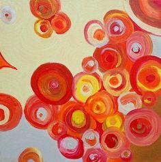 CIRCLES Painting Abstract Modern Original12x12  by devikasart, $69.00