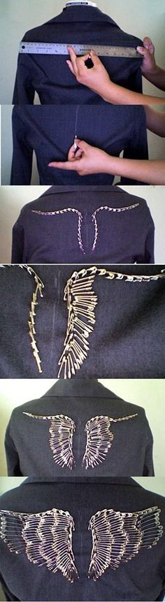 Not crazy about it but cool idea decorate cloths with safety pins. DIY :: Wings made of Safety Pins [from https://www.facebook.com/TheWorldOfSteam]