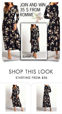 """""""Navy Long Sleeve Floral Maxi Dress"""" by samra-bv ❤ liked on Polyvore"""