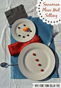 Snowman Place Mat Setting by FSPDT {With Items From Dollar Tree} . Maybe white paper plates to start kids North Pole breakfast? Christmas Love, All Things Christmas, Winter Christmas, Winter Holidays, Christmas Crafts, Christmas Decorations, Xmas, Christmas Sewing, Christmas Morning