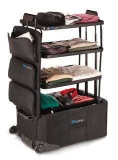 A ShelfPack acomoda os pertences para uma viagem e ainda faz o papel de um miniarmário para organizar as peças ao chegar ao destino.